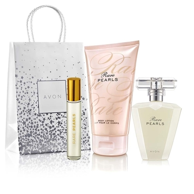 Avon Rare Pearls 50ml + perfumetka + balsam 150ml + torebka prezentowa
