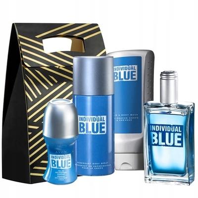 Avon Individual Blue 100ml + deo kulka + deo spray +  żel do mycia włosów i ciała