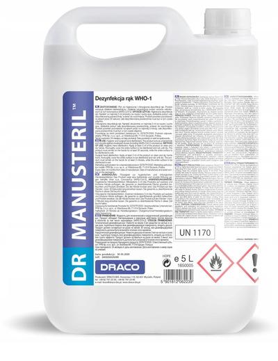 DR MANUSteril WHO-1 płyn do dezynfekcji rąk 5 litrów