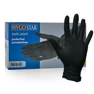HygoStar rękawiczki rękawice nitrylowe bezpudrowe czarne M - 100 sztuk